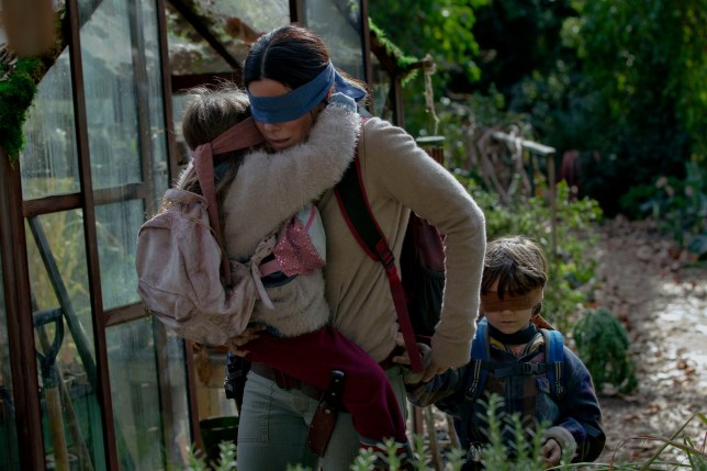 Editorial use only. No book cover usage. Mandatory Credit: Photo by Saeed Adyani/Netflix/Kobal/REX/Shutterstock (10043929b) Vivien Lyra Blair as Girl, Trevante Rhodes as Tom and Julian Edwards as Boy 'Bird Box' Film - 2018 Five years after an ominous unseen presence drives most of society to suicide, a mother and her two children make a desperate bid to reach safety.