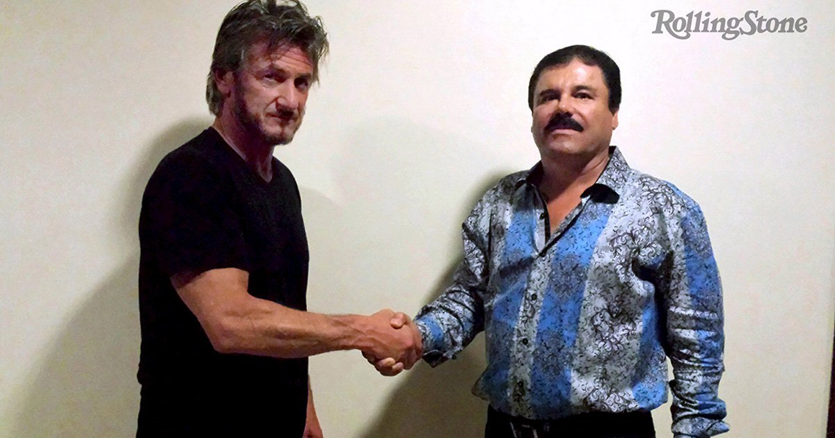 """Actor Sean Penn (L) shakes hands with Mexican drug lord Joaquin """"Chapo"""" Guzman in Mexico, in this undated Rolling Stone handout photo obtained by Reuters on January 10, 2016. The photo was taken for authentication purposes. REUTERS/Rolling Stone/Handout via Reuters ATTENTION EDITORS - THIS PICTURE WAS PROVIDED BY A THIRD PARTY. REUTERS IS UNABLE TO INDEPENDENTLY VERIFY THE AUTHENTICITY, CONTENT, LOCATION OR DATE OF THIS IMAGE. FOR EDITORIAL USE ONLY. NOT FOR SALE FOR MARKETING OR ADVERTISING CAMPAIGNS. FOR EDITORIAL USE ONLY. NO RESALES. NO ARCHIVE. MANDATORY CREDIT. WATERMARK ADDED AT SOURCE. THIS PICTURE IS DISTRIBUTED EXACTLY AS RECEIVED BY REUTERS, AS A SERVICE TO CLIENTS. TPX IMAGES OF THE DAYREUTERS NEWS PICTURES HAS NOW MADE IT EASIER TO FIND THE BEST PHOTOS FROM THE MOST IMPORTANT STORIES AND TOP STANDALONES EACH DAY. Search for """"TPX"""" in the IPTC Supplemental Category field or """"IMAGES OF THE DAY"""" in the Caption field and you will find a selection of 80-100 of our daily Top Pictures.REUTERS NEWS PICTURES. TEMPLATE OUT TPX IMAGES OF THE DAY"""