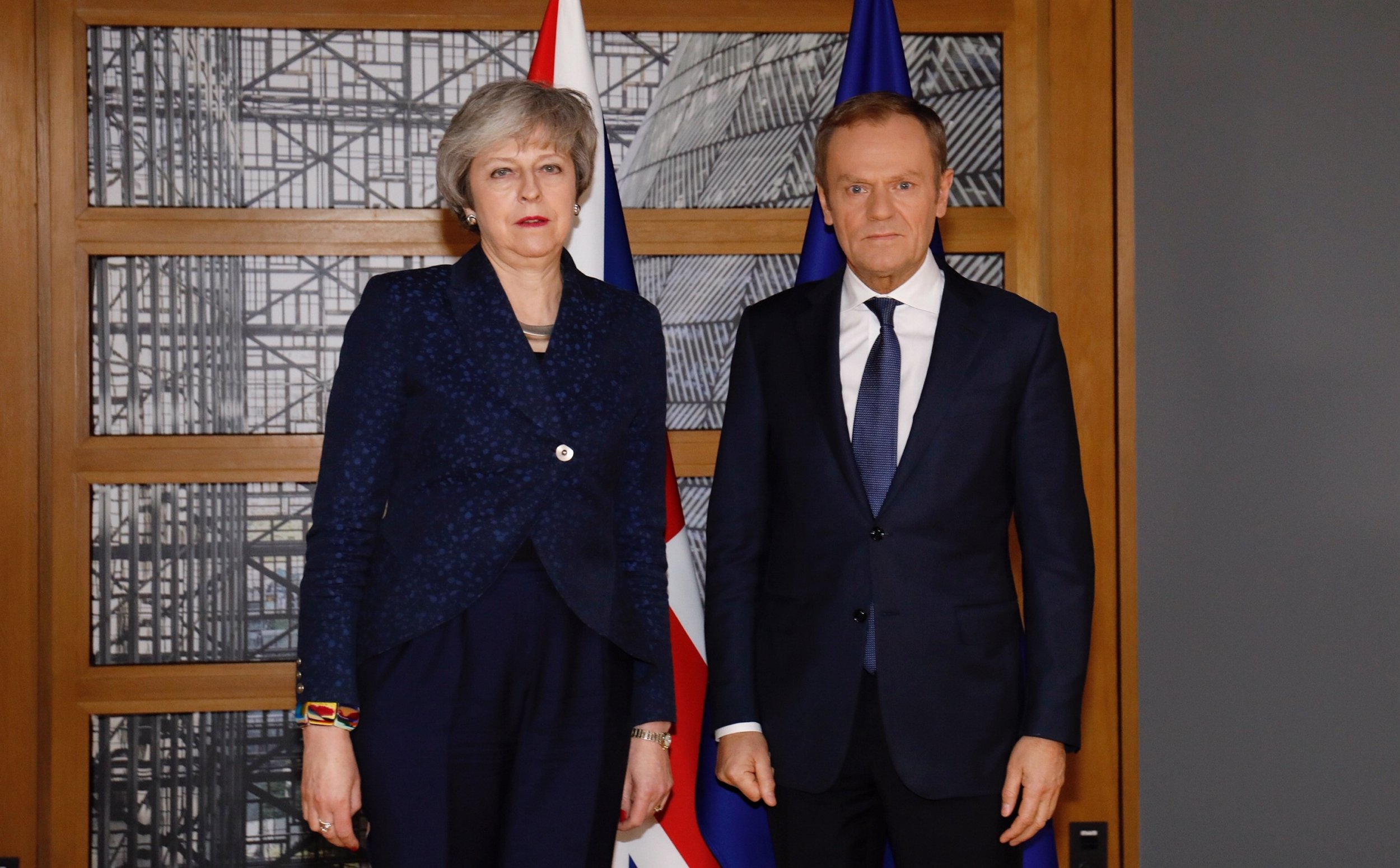"""BRUSSELS, BELGIUM - FEBRUARY 07: (----EDITORIAL USE ONLY MANDATORY CREDIT - """"EU COUNCIL / HANDOUT"""" - NO MARKETING NO ADVERTISING CAMPAIGNS - DISTRIBUTED AS A SERVICE TO CLIENTS----) British Prime Minister Theresa May (L) and President of the European Council Donald Tusk (R) pose for a photo ahead of their meeting in Brussels, Belgium on February 07, 2019. (Photo by EU Council / Handout/Anadolu Agency/Getty Images)"""