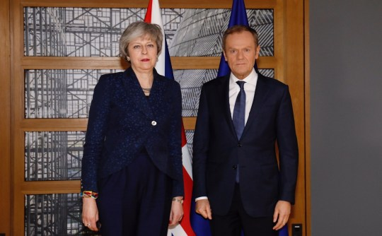 "BRUSSELS, BELGIUM - FEBRUARY 07: (----EDITORIAL USE ONLY MANDATORY CREDIT - ""EU COUNCIL / HANDOUT"" - NO MARKETING NO ADVERTISING CAMPAIGNS - DISTRIBUTED AS A SERVICE TO CLIENTS----) British Prime Minister Theresa May (L) and President of the European Council Donald Tusk (R) pose for a photo ahead of their meeting in Brussels, Belgium on February 07, 2019. (Photo by EU Council / Handout/Anadolu Agency/Getty Images)"