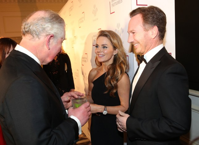 LONDON, ENGLAND - FEBRUARY 07: Prince Charles, Prince Of Wales meets Geri Halliwell and Christian Horner during the Prince's Trust 'Invest In Futures' Reception at The Savoy Hotel on February 7, 2019 in London, England. Over the past 13 years, The Princes Trusts 'Invest in Futures' event has encouraged donors to help disadvantaged young people into work, training or enterprise. (Photo by Chris Jackson - WPA Pool/Getty Images)