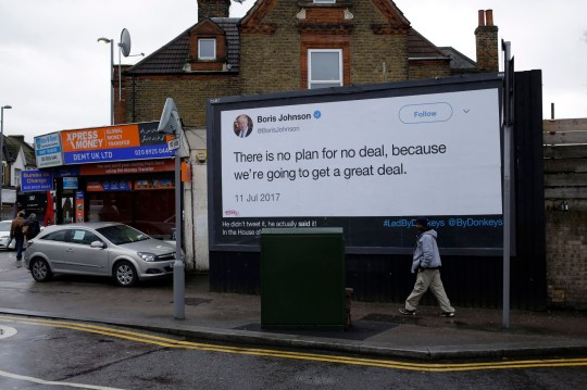 """A billboard is displayed as part of the """"Led By Donkeys"""" remain in the European Union supporting campaign, which aims to highlight quotes on Brexit made by politicians and organizations, in Walthamstow, north London, Friday, Feb. 8, 2019. The British and Irish leaders were meeting Friday to discuss the Irish border ??? and mend fences ??? amid rising tensions between Britain and the European Union over Brexit. (AP Photo/Matt Dunham)"""