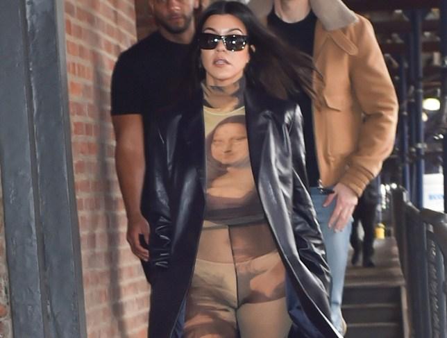 Kourtney Kardashian is seen showing off her underwear in a Mona Lisa body suit in New York. 08 Feb 2019 Pictured: Kourtney Kardashian. Photo credit: Neil Warner/MEGA TheMegaAgency.com +1 888 505 6342