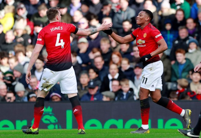 "Soccer Football - Premier League - Fulham v Manchester United - Craven Cottage, London, Britain - Febraury 9, 2019 Manchester United's Anthony Martial celebrates scoring their second goal with Phil Jones Action Images via Reuters/Andrew Couldridge EDITORIAL USE ONLY. No use with unauthorized audio, video, data, fixture lists, club/league logos or ""live"" services. Online in-match use limited to 75 images, no video emulation. No use in betting, games or single club/league/player publications. Please contact your account representative for further details."