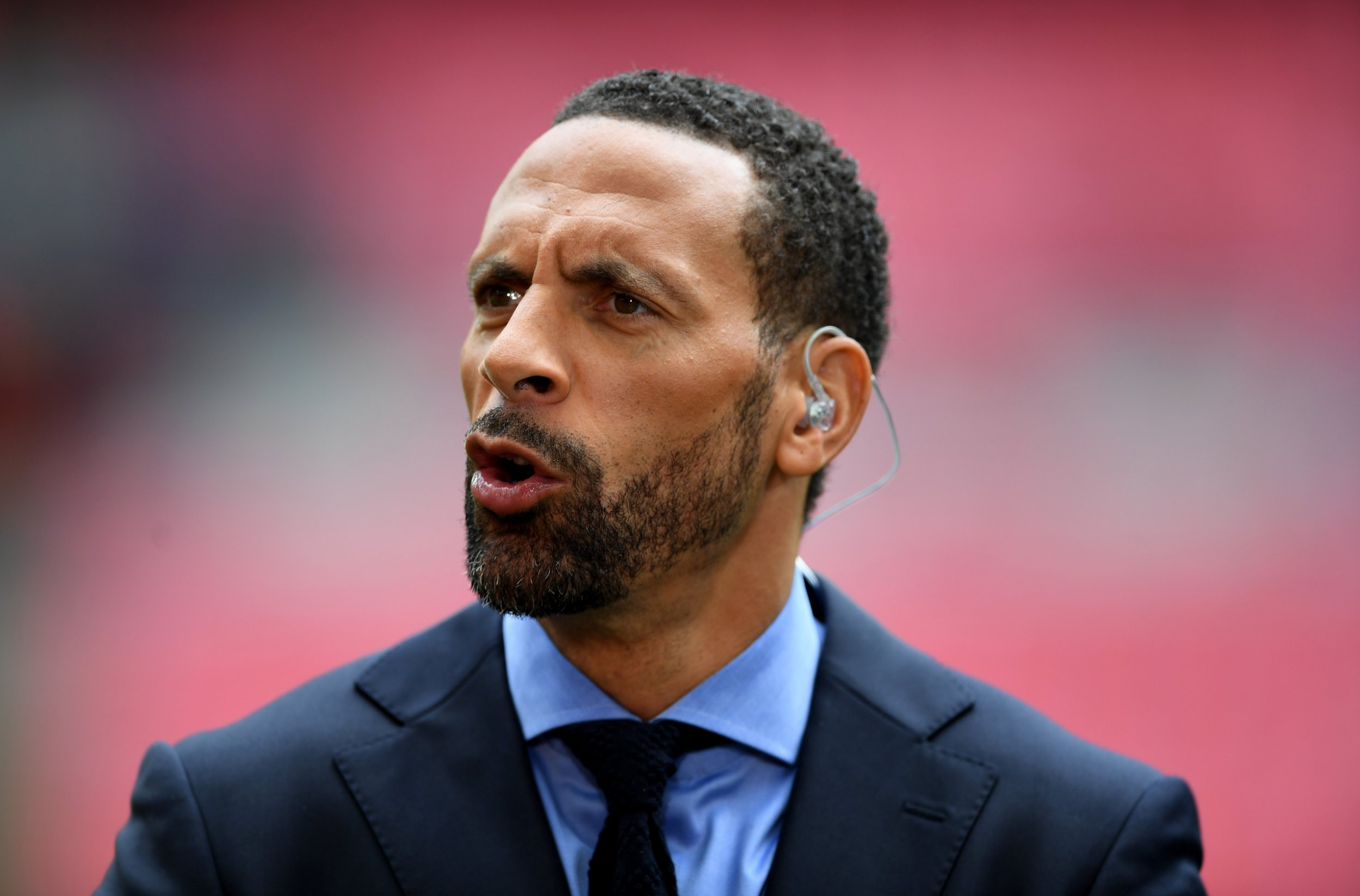 BT Sport pundit Rio Ferdinand look on prior to the Emirates FA Cup Semi-Final match between Arsenal and Manchester City