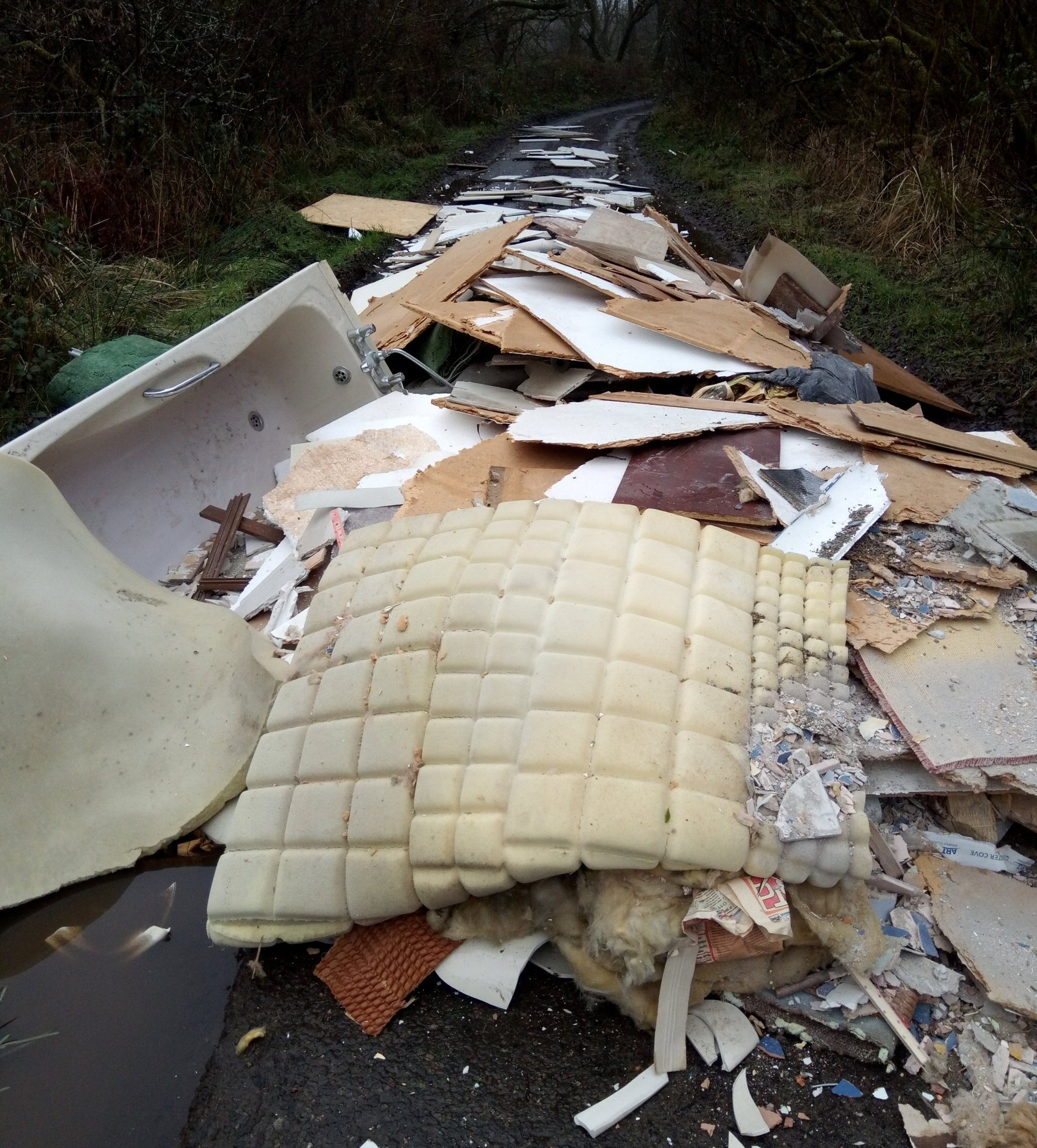 A road in road in Roche, Cornwall completely blocked by fly tipped rubbish. See SWNS copy SWPLfly: These shocking images show a country lane completely blocked by rubbish left by a fly-tipper. The debris, including insulation and an old bathtub, appears to be from a house renovation. But instead of taking the industrial waste to the tip, where there would be a charge to dispose of it, the careless owner dumped it in a country lane. Shocked residents shared a picture of the waste on Facebook, saying that the road in Roche, Cornwall, was completely blocked.