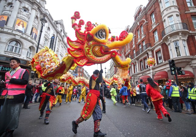 Performers taking part in a chinese new year parade