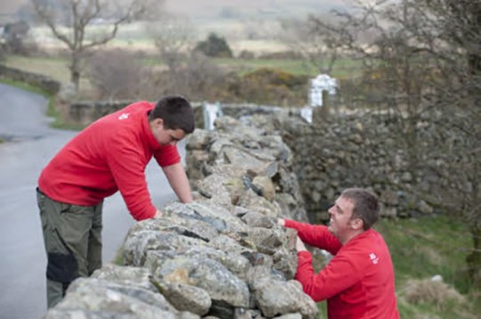 National Trust Wardens maintaining dry stone walls around the campsite in Wasdale, Cumbria.