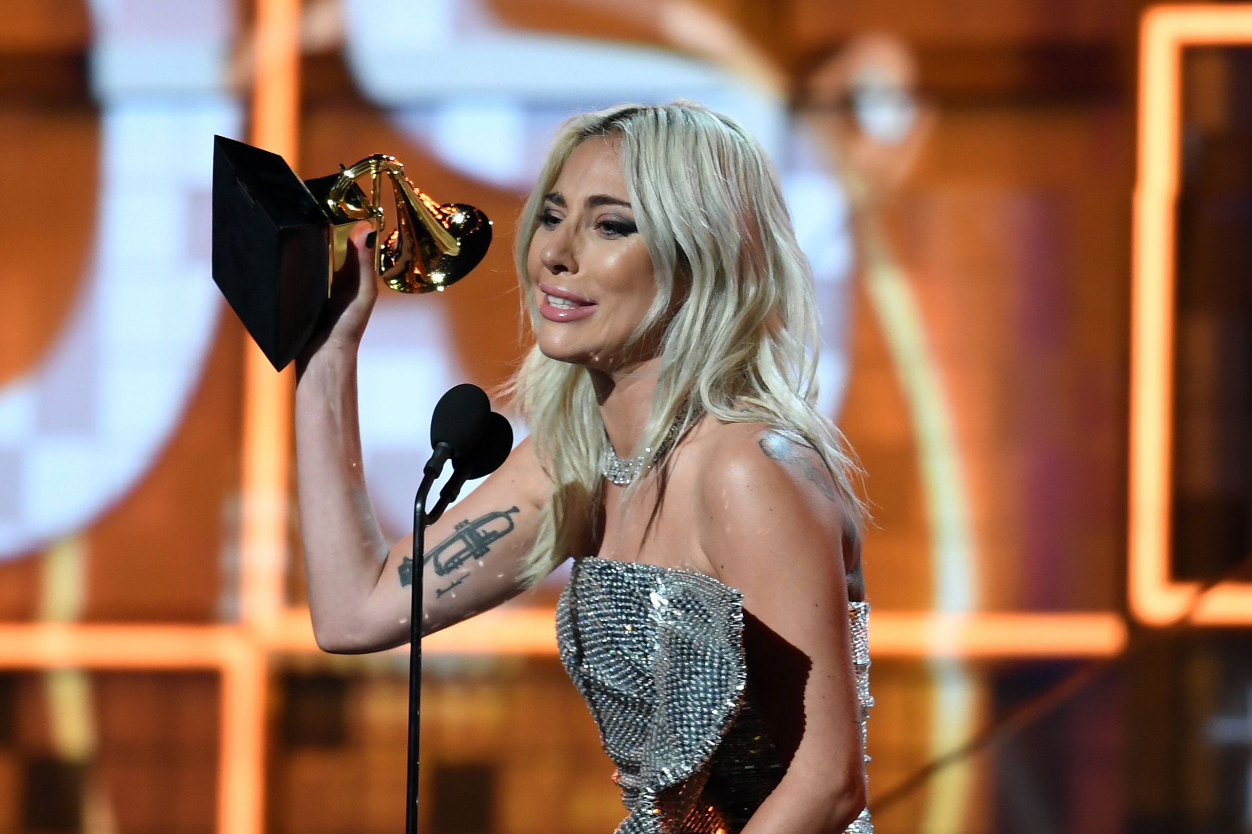 "Lady Gaga accepts the award for Best Pop Duo/Group Performance with ""Shallow"" during the 61st Annual Grammy Awards on February 10, 2019, in Los Angeles. (Photo by Robyn Beck / AFP)ROBYN BECK/AFP/Getty Images"