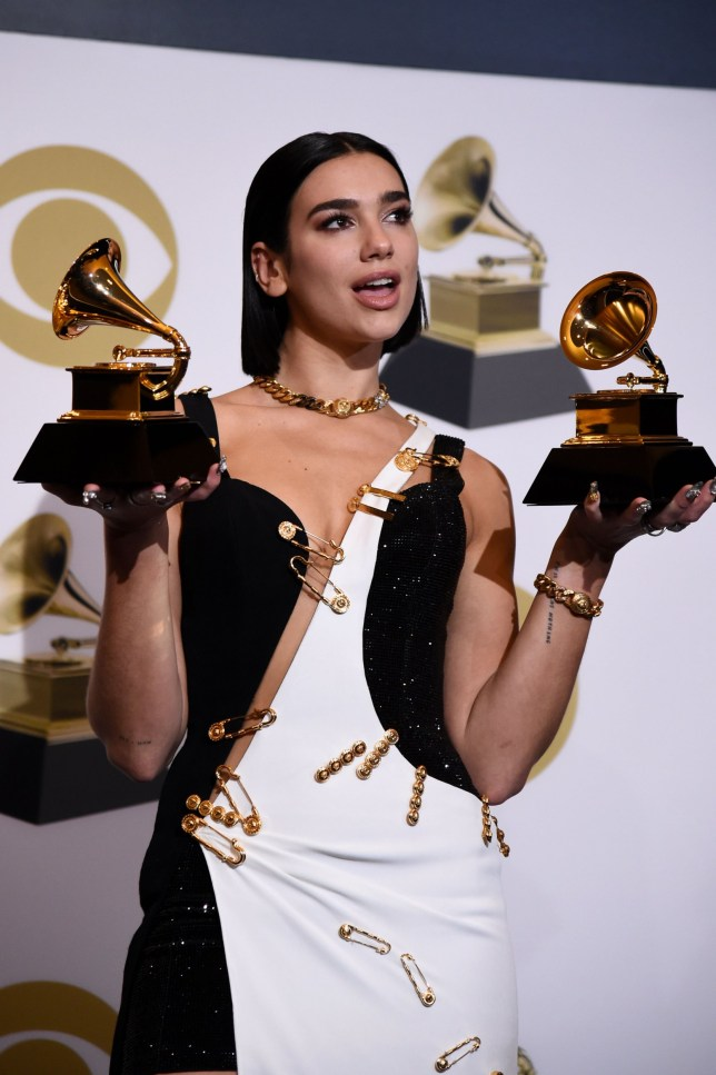 LOS ANGELES, CALIFORNIA - FEBRUARY 10: Dua Lipa, winner of Best New Artist and Best Dance Recording for 'Electricity,' poses in the press room during the 61st Annual GRAMMY Awards at Staples Center on February 10, 2019 in Los Angeles, California. (Photo by Amanda Edwards/Getty Images)