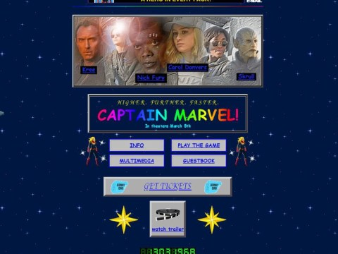 Captain Marvel website is straight out the nineties and it's giving us major nostalgia