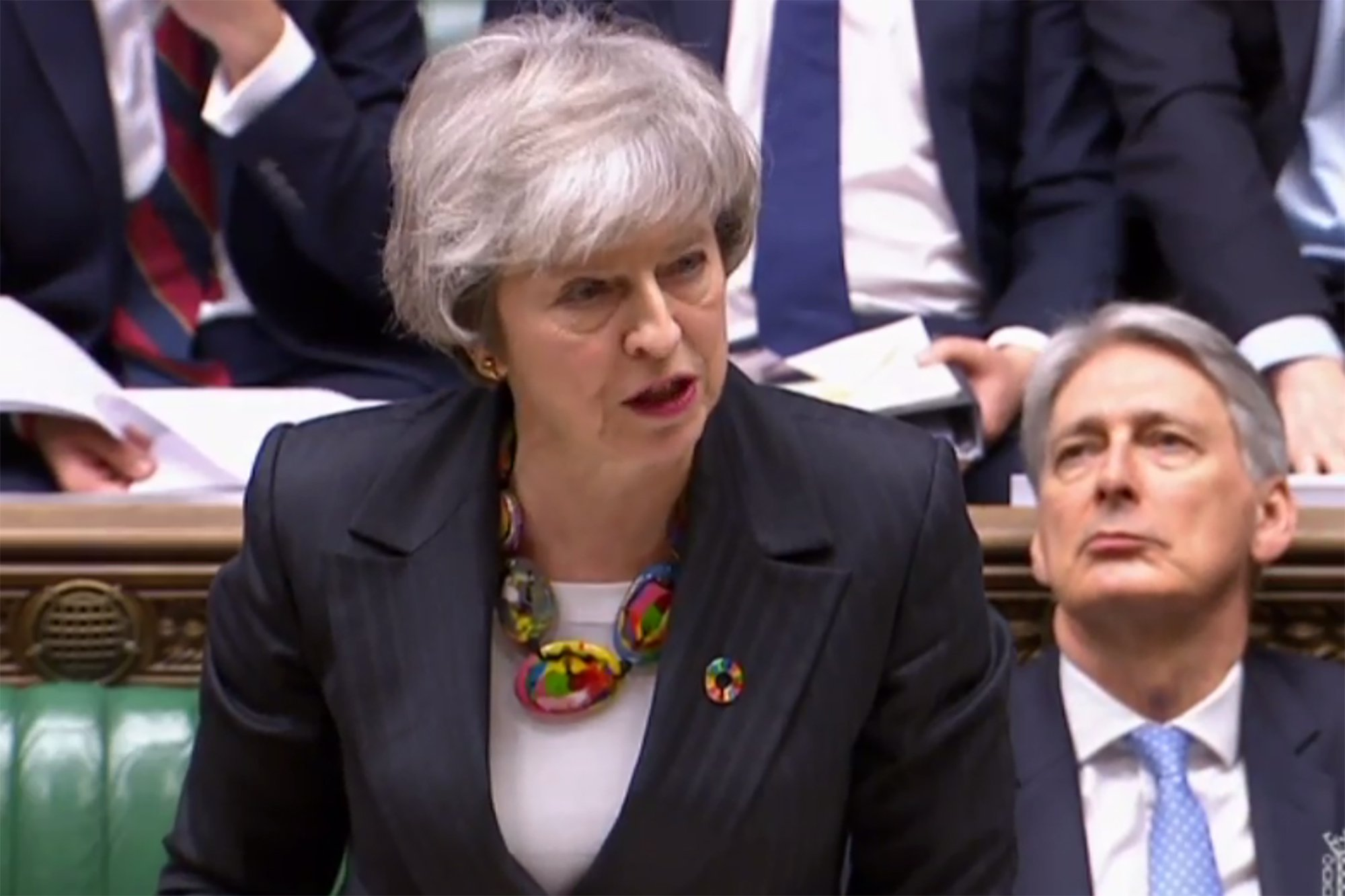 """A video grab from footage broadcast by the UK Parliament's Parliamentary Recording Unit (PRU) shows Britain's Prime Minister Theresa May making a statement on Brexit in the House of Commons in London on February 12, 2019. - May updated parliament on her latest meetings in Brussels and Dublin aimed at securing a divorce agreement with the EU, with Britain due to leave the bloc on March 29. (Photo by HO / various sources / AFP) / RESTRICTED TO EDITORIAL USE - MANDATORY CREDIT """" AFP PHOTO / PRU """" - NO USE FOR ENTERTAINMENT, SATIRICAL, MARKETING OR ADVERTISING CAMPAIGNSHO/AFP/Getty Images"""