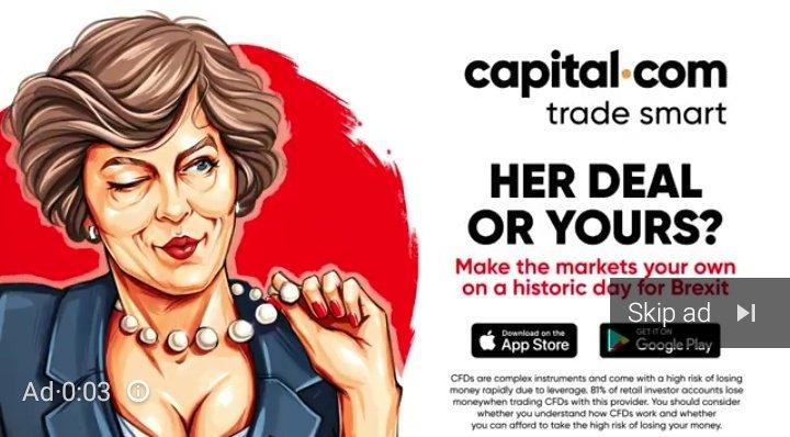 Grab of captial.com Theresa May advert tweeted by Anastasia Zawierucha