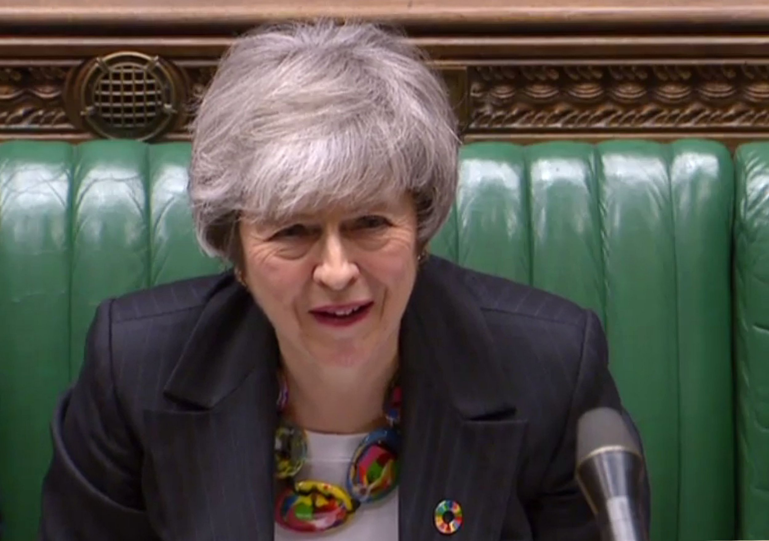"A video grab from footage broadcast by the UK Parliament's Parliamentary Recording Unit (PRU) shows Britain's Prime Minister Theresa May listening to a reply by opposition leader Jeremy Corbyn to her statement on Brexit in the House of Commons in London on February 12, 2019. - May updated parliament on her latest meetings in Brussels and Dublin aimed at securing a divorce agreement with the EU, with Britain due to leave the bloc on March 29. (Photo by HO / PRU / AFP) / RESTRICTED TO EDITORIAL USE - MANDATORY CREDIT "" AFP PHOTO / PRU "" - NO USE FOR ENTERTAINMENT, SATIRICAL, MARKETING OR ADVERTISING CAMPAIGNSHO/AFP/Getty Images"