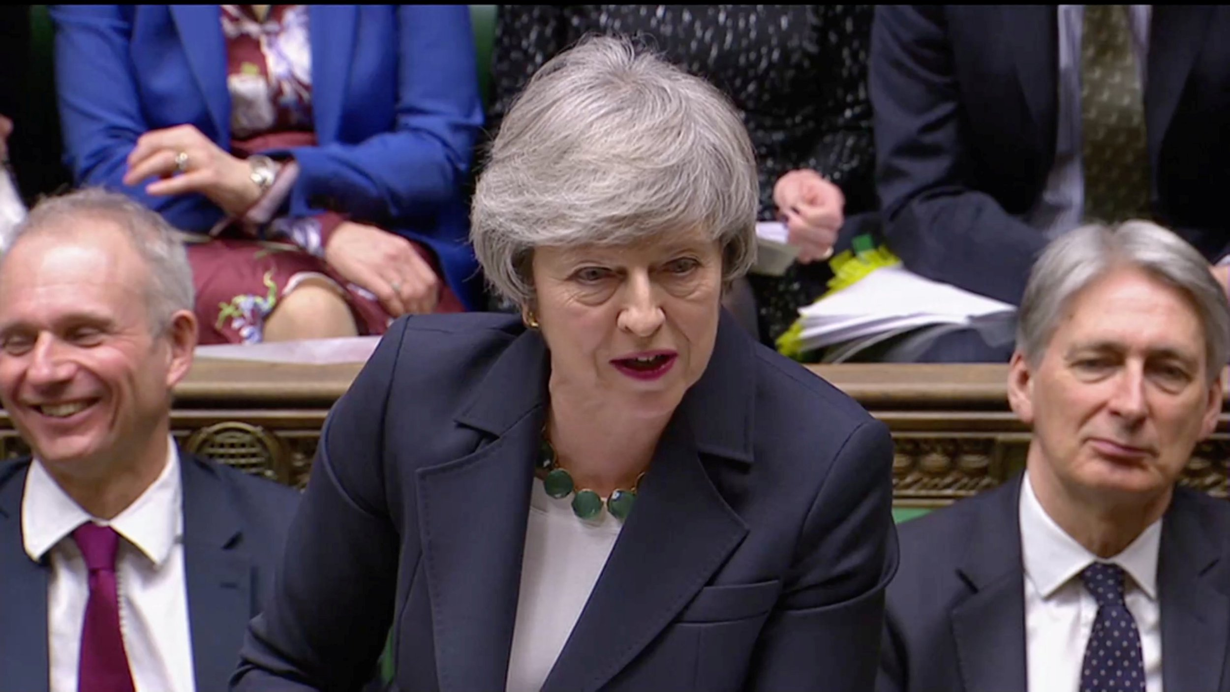 Britain's Prime Minister Theresa May speaks in Parliament, London, Britain, February 13, 2019, in this screen grab taken from video. Reuters TV via REUTERS