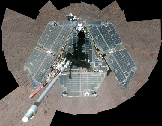 A self-portrait of NASA's Mars Exploration Rover Opportunity, a combination of multiple frames taken by Opportunity's panoramic camera (Pancam) from March 22 through March 24, 2014 on planet Mars is seen in this NASA/JPL-Caltech image released on April 17, 2014. Courtesy NASA/JPL-Caltech/Cornell University/Arizona State University/Handout via REUTERS ATTENTION EDITORS - THIS IMAGE HAS BEEN SUPPLIED BY A THIRD PARTY.