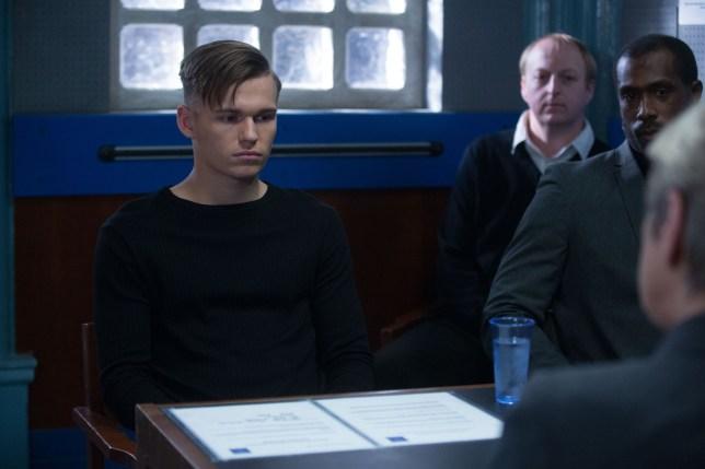 Charlie Winter as Hunter Winter being interrogated in EastEnders