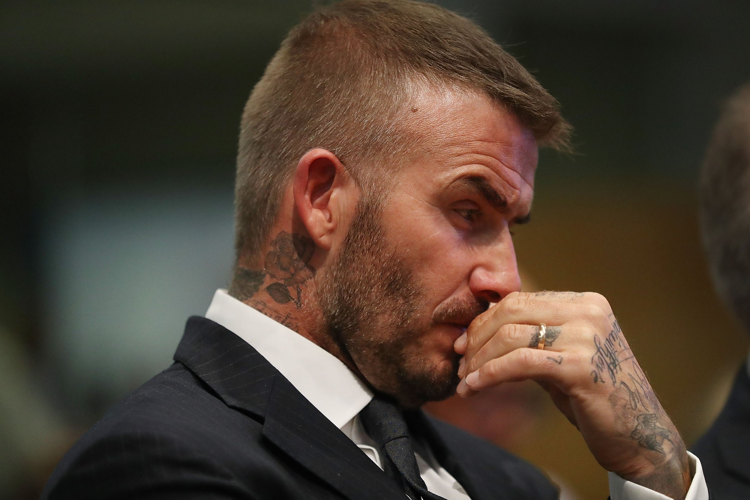MIAMI, FL - JULY 12: David Beckham attends a meeting at the Miami City Hall during a public hearing about building a Major League soccer stadium on a public golf course on July 12, 2018 in Miami, Florida. Mr. Beckham and his partners attended the meeeting at the City of Miami during a public hearing in their effort to build a Major League Soccer stadium in the City of Miami for their professional soccer team. (Photo by Joe Raedle/Getty Images)