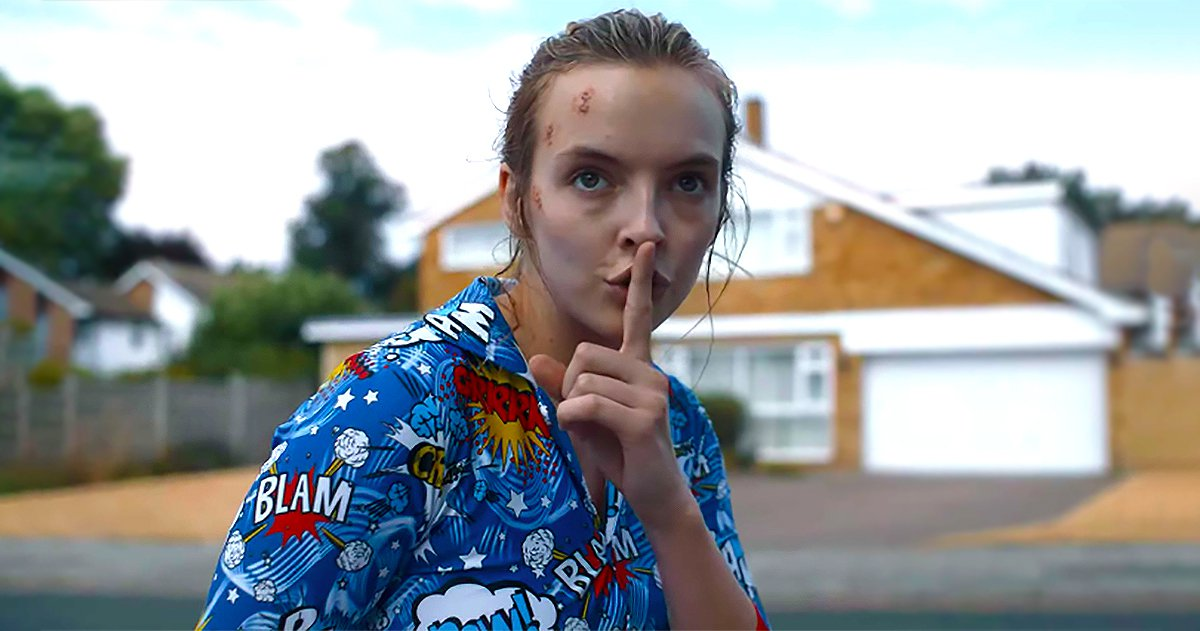 Jodie Comer as Villanelle in boys pyjamas in Killing Eve