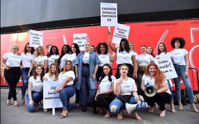 Mandatory Credit: Photo by Anthony Harvey/REX (10107545f) Hayley Hasselhoff Hayley Hasselhoff model diversity protest, London Fashion Week, UK - 15 Feb 2019