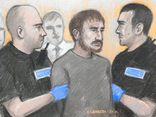 ALL TV OUT Court artist sketch by Elizabeth Cook of Alexander Lewis-Ranwell appearing at Exeter Magistrates' Court, where he is accused of murdering Anthony Payne, 80, and twins Dick and Roger Carter, 84. PRESS ASSOCIATION Photo. Picture date: Saturday February 16, 2019. See PA story COURTS Exeter. Photo credit should read: Elizabeth Cook/PA Wire