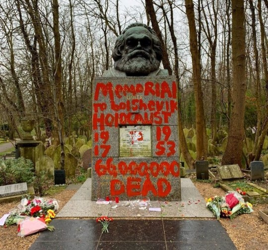 Philosopher Karl Marx's grave site is seen vandalised with red paint in London, Britain February 16, 2019 in this image obtained from social media. Twitter: @maxwellmuseums via REUTERS ATTENTION EDITORS - THIS IMAGE WAS PROVIDED BY A THIRD PARTY. NO RESALES. NO ARCHIVES. MANDATORY CREDIT.