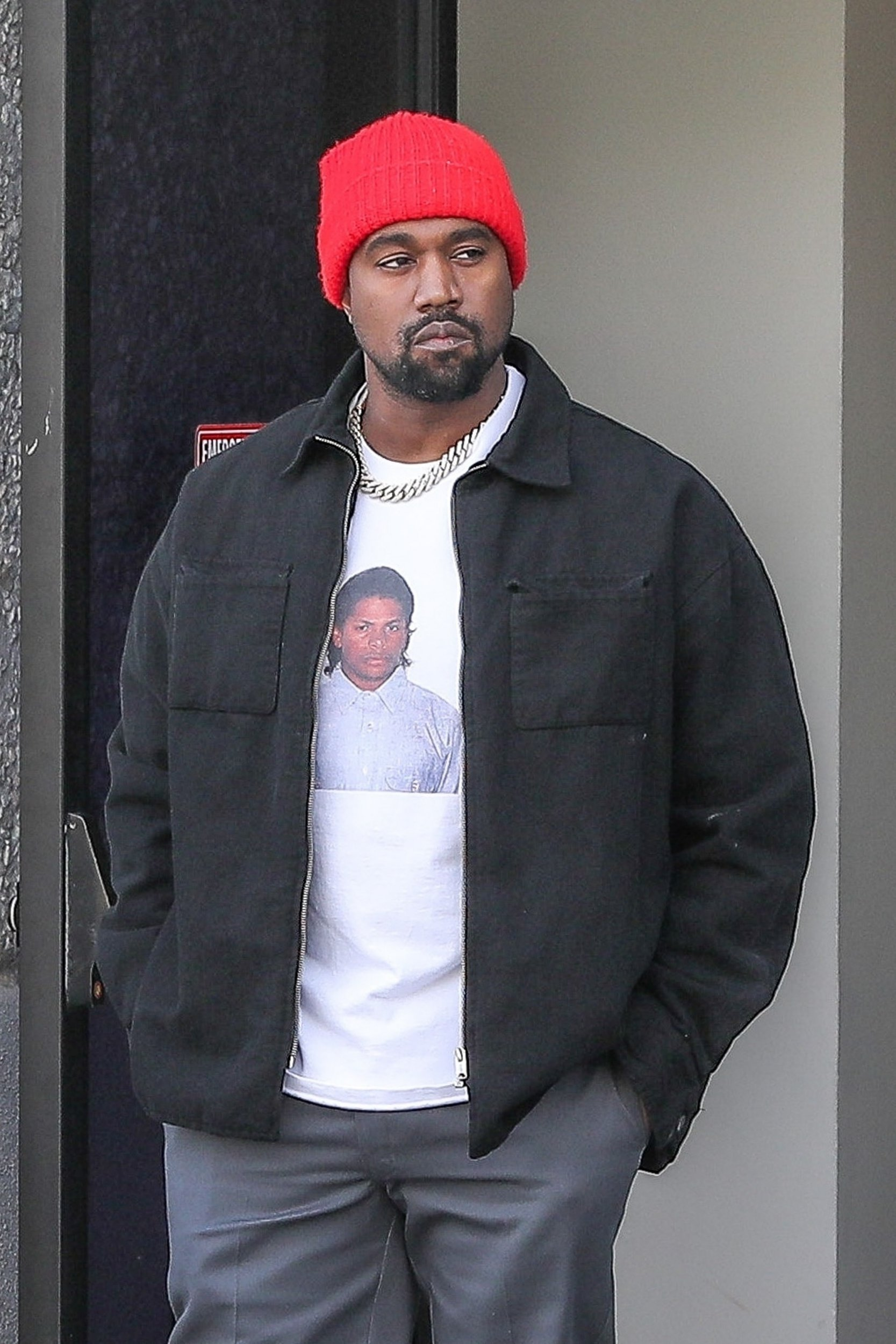 Kanye West looks absolutely thrilled to be working on the