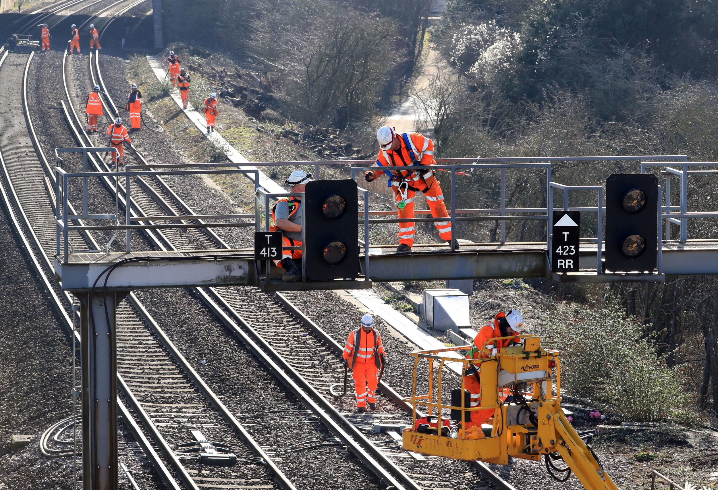 Engineers working on the the southern end of the Brighton Main Line (BML) near Brighton, Sussex, as one of Britain's busiest railway lines remains closed, causing major disruption to passengers. PRESS ASSOCIATION Photo. Picture date: Sunday February 17, 2019. No trains will operate on the line until February 25 to enable Network Rail to carry out engineering work as part of a ?67 million project. See PA story RAIL Brighton. Photo credit should read: Gareth Fuller/PA Wire