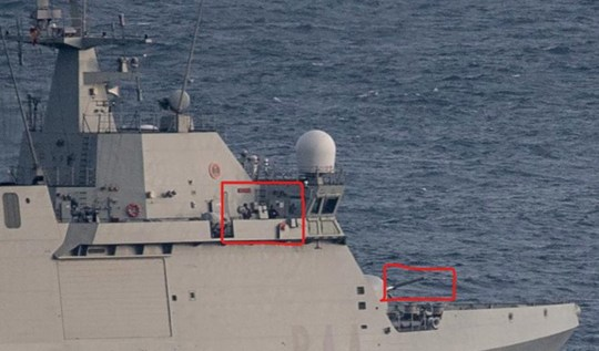 EDITORS NOTE: HIGHLIGHTED AREAS ADDED AT SOURCE Handout photo dated 17/02/19 issued by the Government of Gibraltar of a Spanish warship with its guns manned that ordered commercial ships to leave British Gibraltar waters on Sunday, according to the territory's government. PRESS ASSOCIATION Photo. Issue date: Sunday February 17, 2019. See PA story SEA Gibraltar. Photo credit should read: Government of Gibraltar/PA Wire NOTE TO EDITORS: This handout photo may only be used in for editorial reporting purposes for the contemporaneous illustration of events, things or the people in the image or facts mentioned in the caption. Reuse of the picture may require further permission from the copyright holder.