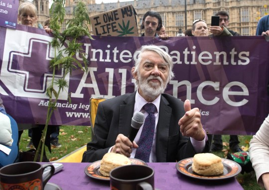 File photo dated 10/10/17 of Labour MP Paul Flynn speaking at a cannabis tea party held by the United Patients Alliance outside the Houses of Parliament in London. Mr Flynn, the Labour MP for Newport West, has died, his local association has announced. PRESS ASSOCIATION Photo. Issue date: Monday February 18, 2019. See PA story DEATH Flynn. Photo credit should read: Stefan Rousseau/PA Wire