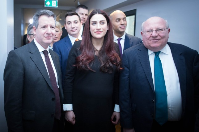 Labour MPs (left to right) Chris Leslie (Ann Coffey, Angela Smith, (both hidden left), Gavin Shuker, Luciana Berger, Chuka Umunna and Mike Gapes, after they announced their resignations during a press conference at County Hall in Westminster and the creation of a new Independent Group in the House of Commons, in the most significant split in British politics since the breakaway of the Social Democratic Party in the 1980s. PRESS ASSOCIATION Photo. Picture date: Monday February 18, 2019. See PA story POLITICS Labour. Photo credit should read: Stefan Rousseau/PA Wire