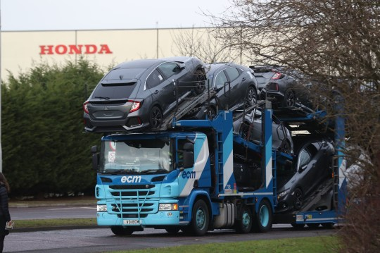 A car transporter at the Honda plant in Swindon, which the company is planning to close with the loss of more than 3,000 jobs. PRESS ASSOCIATION Photo. Picture date: Monday February 18, 2019. Honda was the first major Japanese car company to get involved in large scale manufacturing the UK when it did a deal with British Leyland in 1980 to produce Honda-based models in BL factories. See PA story INDUSTRY Honda. Photo credit should read: Steve Parsons/PA Wire