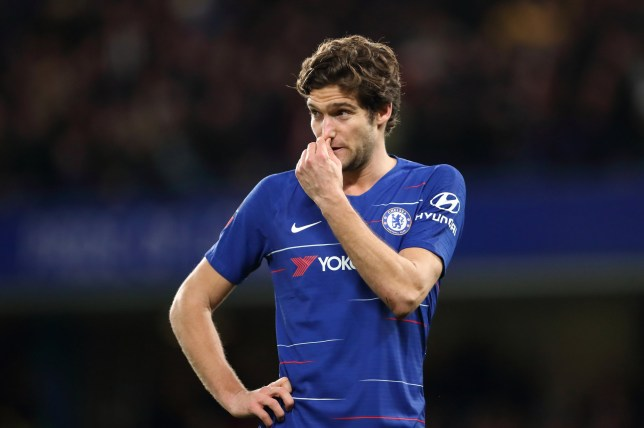 LONDON, ENGLAND - FEBRUARY 18: Marcos Alonso of Chelsea reacts during the FA Cup Fifth Round match between Chelsea and Manchester United at Stamford Bridge on February 18, 2019 in London, United Kingdom. (Photo by James Williamson - AMA/Getty Images)