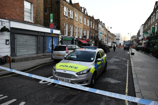 ?? Licensed to London News Pictures. 19/02/2019. London, UK. The scene at a hotel where a man has been found dead after being stabbed to death near Euston Station in London. Photo credit: Ben Cawthra/LNP