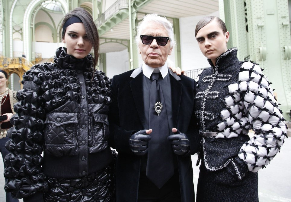 Mandatory Credit: Photo by REX/Shutterstock (4514957db) Kendall Jenner, Karl Lagerfeld and Cara Delevingne Chanel show, Autumn Winter 2015, Paris Fashion Week, France - 10 Mar 2015