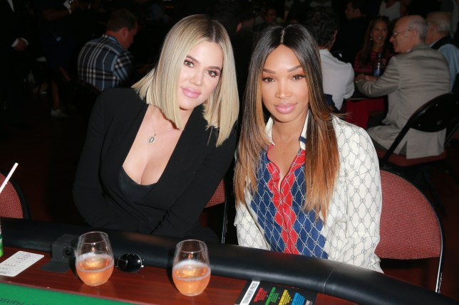 "INGLEWOOD, CA - JULY 29: Khloe Kardashian (L) and Malika Haqq attend the first annual ""If Only"" Texas hold'em charity poker tournament benefiting City of Hope at The Forum on July 29, 2018 in Inglewood, California. (Photo by Rich Fury/Getty Images)"