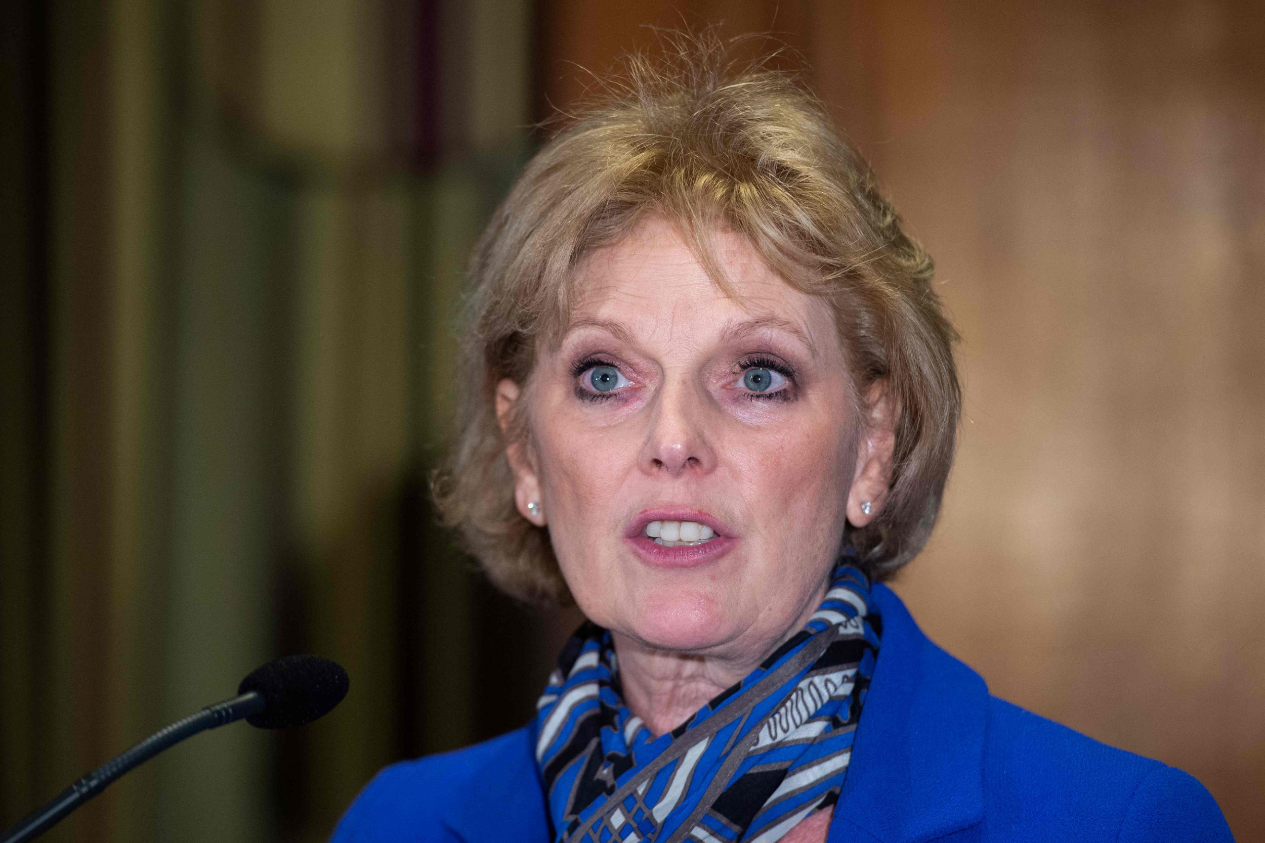 """Former Conservative Party and now an Independent MP Anna Soubry speaks at a press conference in central London on February 20, 2019 following her resignation from the Conservative Party in a joint letter with two other colleagues. - Three MPs, Anna Soubry, Heidi Allen and Sarah Wollaston, quit Britain's governing Conservatives on Wednesday over Brexit, saying the issue had """"re-defined"""" the party and was """"undoing all the efforts to modernise it"""". The trio added that they planned to sit in parliament alongside eight former Labour lawmakers who, also citing their opposition to Brexit, resigned from the main opposition party this week to form the new Independent Group. (Photo by Niklas HALLE'N / AFP)NIKLAS HALLE'N/AFP/Getty Images"""