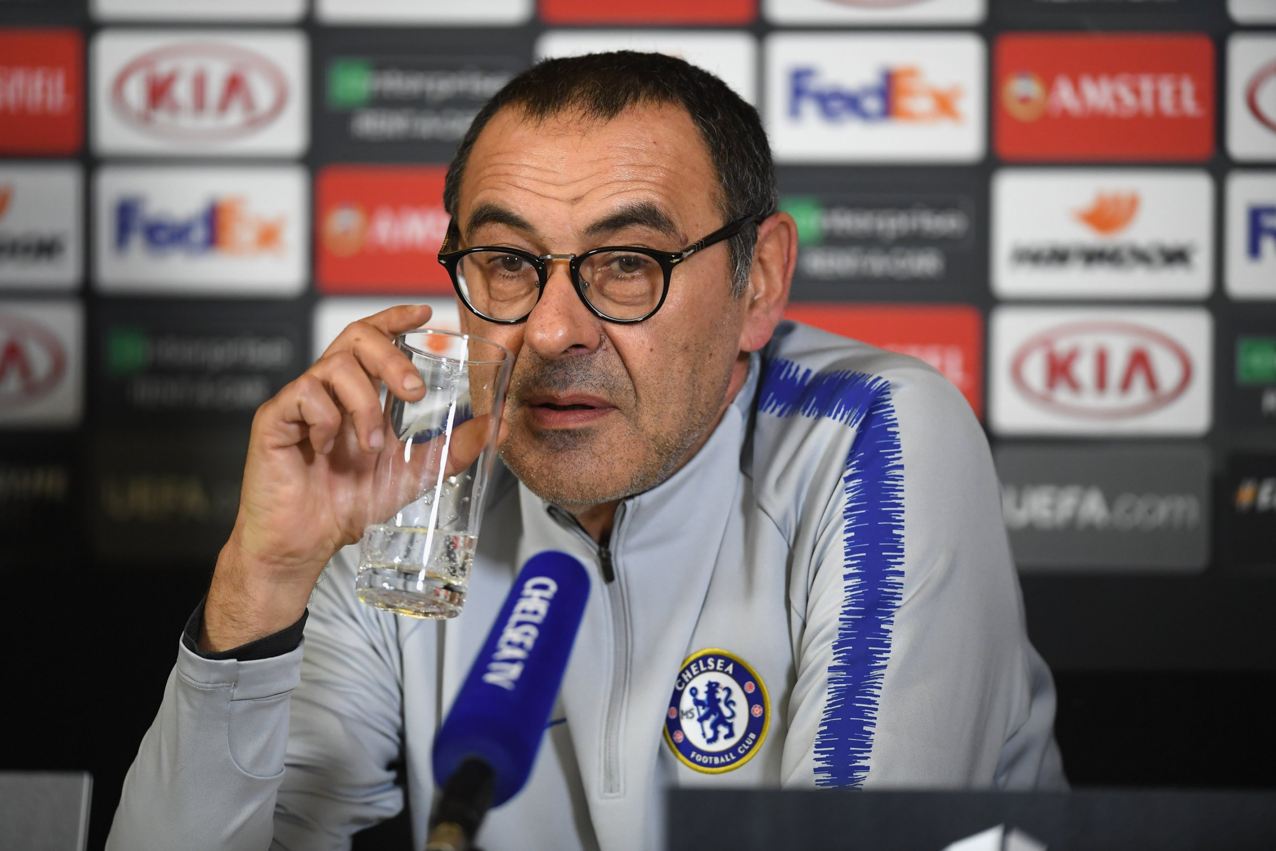 COBHAM, ENGLAND - FEBRUARY 20: Maurizio Sarri of Chelsea speaks during a press conference at Chelsea Training Ground on February 20, 2019 in Cobham, England. (Photo by Darren Walsh/Chelsea FC via Getty Images)