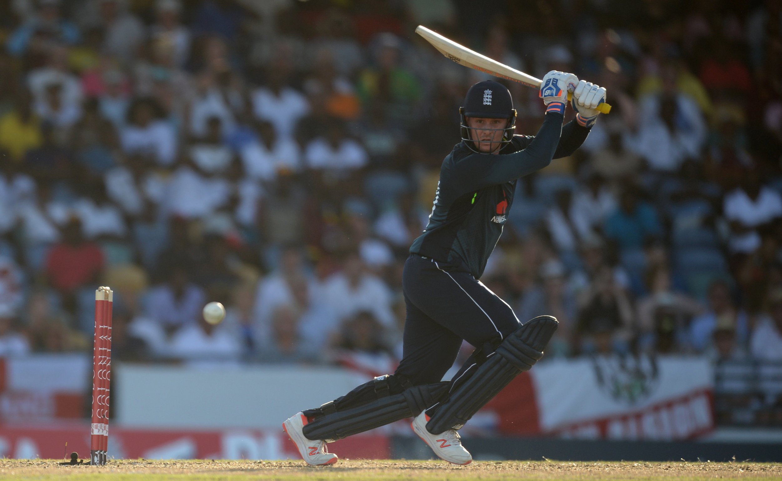 BRIDGETOWN, BARBADOS - FEBRUARY 20 : Jason Roy of England hits out during the first one-day international between the West Indies and England at Kensington Oval on February 20, 2019 in Bridgetown, Barbados. (Photo by Philip Brown/Popperfoto)