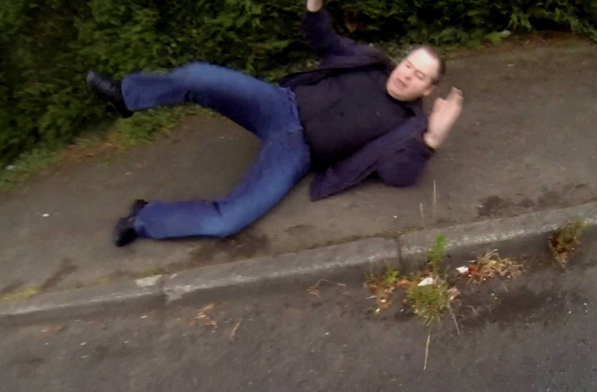 """Dated: 20/02/2019 David Wilkinson, who has been jailed for 16 months at Newcastle Crown Court after he was snared by paedophile hunters Dark Justice when he posed as a doctor during explicit internet conversations he thought were with a 13-year-old girl over """"Teen Chat"""". Pictured after falling while being chased by Dark Justice. See story and VIDEO by North News"""