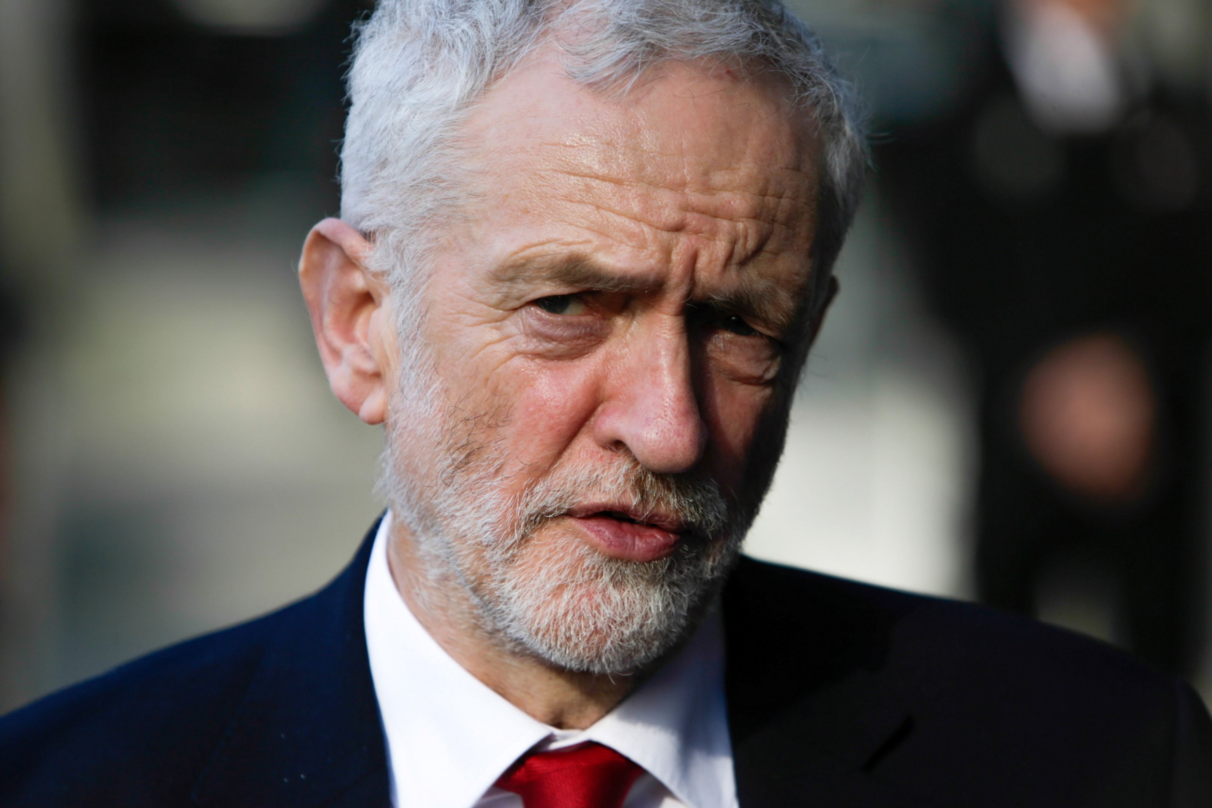 Britain's main opposition Labour Party leader Jeremy Corbyn answers journalists' questions as he leaves the EU Commission in Brussels on February 21, 2019 after a meeting with EU Brexit negotiator. (Photo by Aris Oikonomou / AFP)ARIS OIKONOMOU/AFP/Getty Images