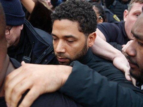 Empire's Jussie Smollett keeps his head down as he leaves court on bail amid claims he staged attack