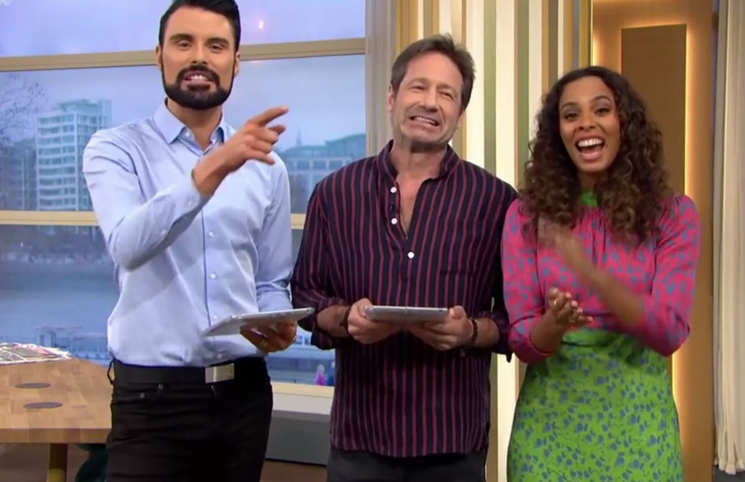 Picture: ITV New career path for David Duchovny as he joins in hosting with Rylan and Rochelle