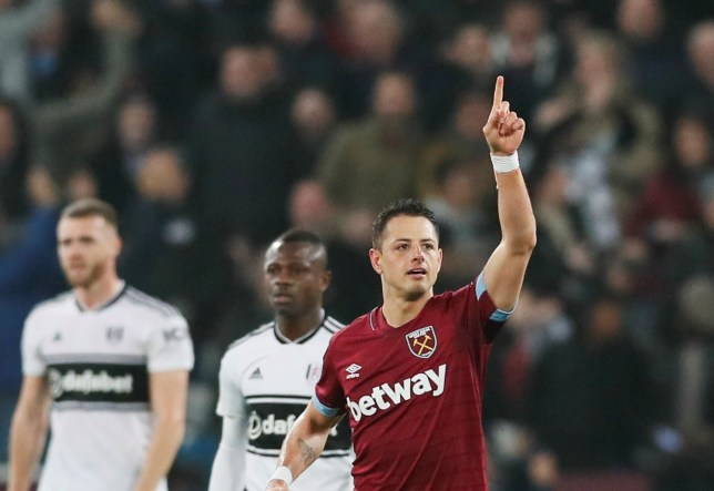 "Soccer Football - Premier League - West Ham United v Fulham - London Stadium, London, Britain - February 22, 2019 West Ham's Javier Hernandez celebrates scoring their first goal REUTERS/David Klein EDITORIAL USE ONLY. No use with unauthorized audio, video, data, fixture lists, club/league logos or ""live"" services. Online in-match use limited to 75 images, no video emulation. No use in betting, games or single club/league/player publications. Please contact your account representative for further details."