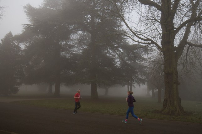 Joggers run through a foggy Cannon Hill Park