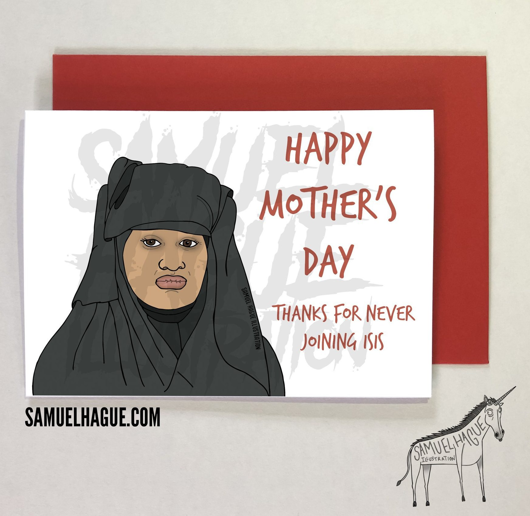 Humorous Mother's Day card of Shamima Begum and ISIS https://samuelhague.com Credit: Samuel Hague