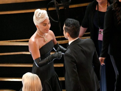 Lady Gaga came to Rami Malek's rescue at the Oscars with bow tie fix