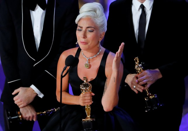 """91st Academy Awards - Oscars Show - Hollywood, Los Angeles, California, U.S., February 24, 2019. Lady Gaga accepts the Best Original Song award for """"Shallow"""" from """"A Star Is Born """" REUTERS/Mike Blake TPX IMAGES OF THE DAY"""
