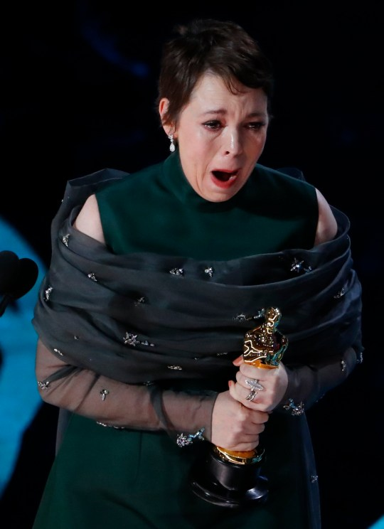 """91st Academy Awards - Oscars Show - Hollywood, Los Angeles, California, U.S., February 24, 2019. Olivia Colman accepts the Best Actress award for her role in """"The Favourite."""" REUTERS/Mike Blake"""