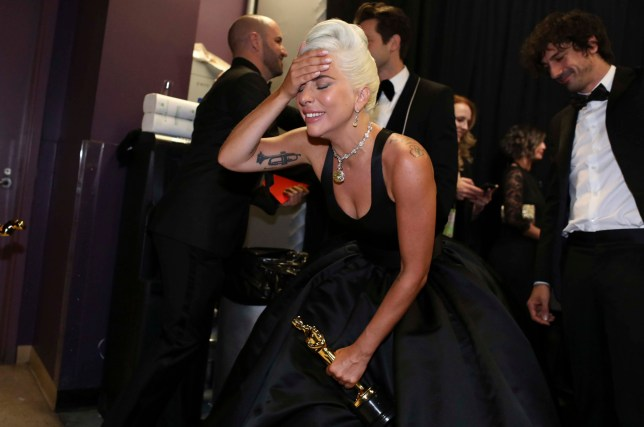 91st Academy Awards - Oscars Backstage - Hollywood, Los Angeles, California, U.S., February 24, 2019. Lady Gaga reacts. Matt Sayles /A.M.P.A.S./Handout via REUTERS ATTENTION EDITORS. THIS IMAGE HAS BEEN SUPPLIED BY A THIRD PARTY. NO MARKETING OR ADVERTISING IS PERMITTED WITHOUT THE PRIOR CONSENT OF A.M.P.A.S AND MUST BE DISTRIBUTED AS SUCH. MANDATORY CREDIT.